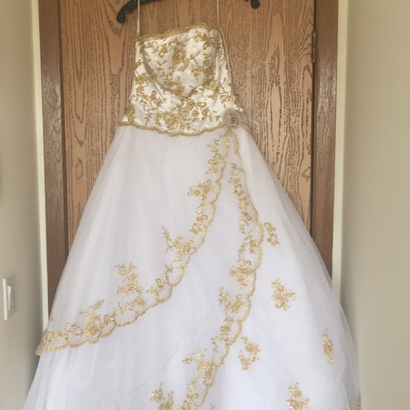 Precious Formals Dresses | Strapless White And Gold Ball Gown Prom ...
